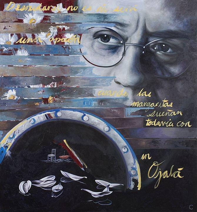 Crónica de un ojalá (2016), Claudia Huizar, Óleo y acrílico sobre tela, 140 x 130 cm